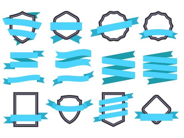 Banner wstążka. zestaw ramek i wstążek niebieski płaski na białym tle