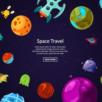 Banner z tekstem miejsca z kreskówkowymi planetami i statkami kosmicznymi