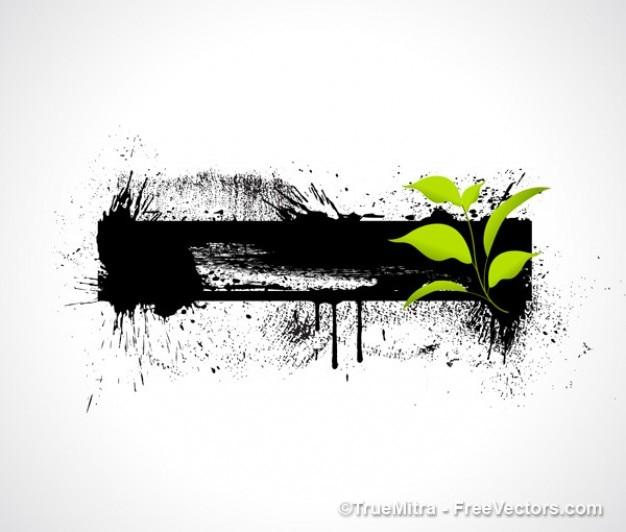 Banner z zielonych liści