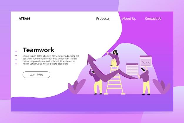 Banner zarządzania pracą zespołową i ilustracja strony docelowej