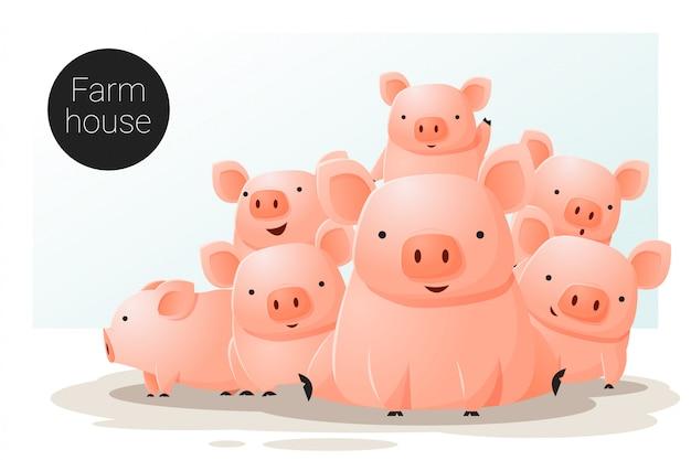 Banner zwierząt z świni do projektowania stron internetowych