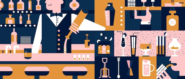 Bar i barman płaska ilustracja