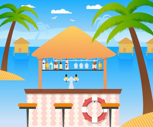 Bar na plaży ze sprzedażą zimnych napojów alkoholowych i wody. drewniana restauracja letnia z pierścieniem flotacyjnym panoramiczny tropikalny krajobraz z domami wodnymi. palmy kokosowe drzewa, krzesła. wektorowa płaska ilustracja