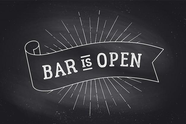 Bar otwarty. tablica