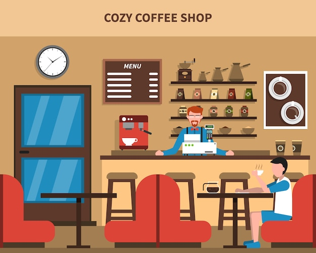 Bar wnętrze kawiarni retro płaski baner