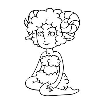 Baran. dziewczyna zodiaku. symbol horoskopu.