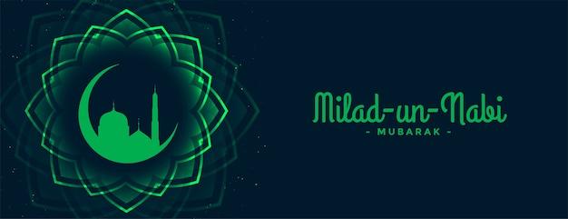 Barawafat milad un nabi festiwal zielony sztandar