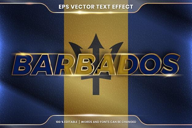 Barbados z flagą narodową kraju, edytowalny styl efektu tekstu z koncepcją gradientu koloru złota