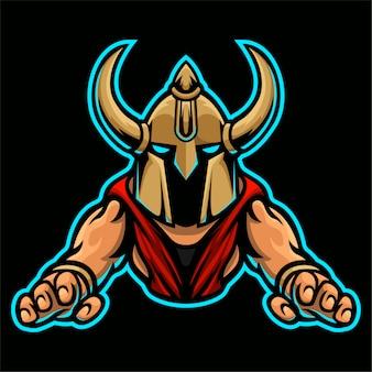 Barbarzyńca rycerz viking logo szablon