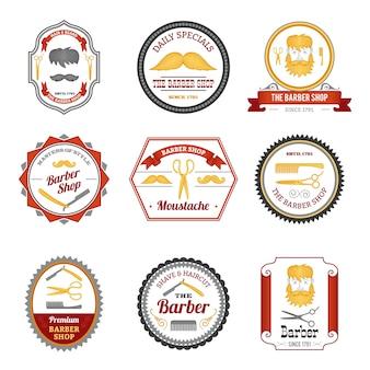 Barber shop emblematy w kolorze