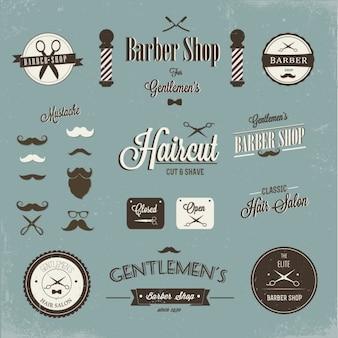 Barber shop etykiety i logo projektu