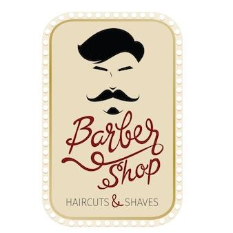 Barber shop, fryzury i goli baner z napisem