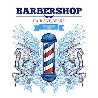 Barber shop reklama plakat płaski