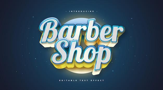 Barber shop tekst w kolorowym stylu z efektem 3d i świecącym. edytowalny efekt stylu tekstu