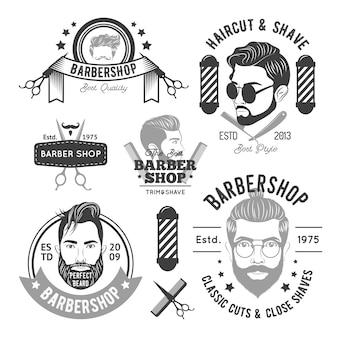 Barbershop monochromatyczne emblematy