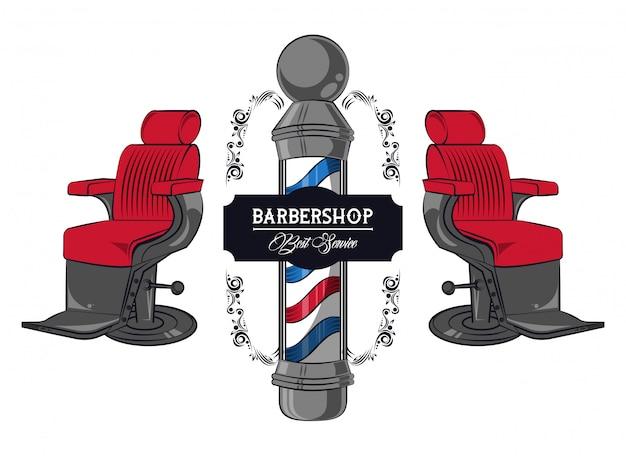Barbershop rocznika kolorowe godło