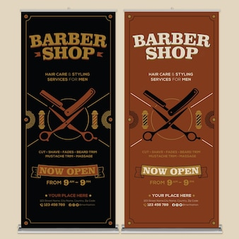 Barbershop roll up banner print template with flat design style