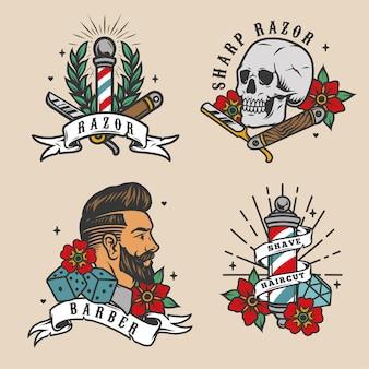 Barbershop vintage kolorowe etykiety