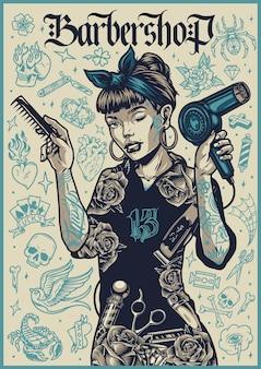 Barbershop vintage plakat z ładną mrugającą kobiecą fryzjerką trzymającą grzebień i suszarkę do włosów