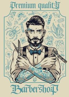 Barbershop vintage plakat ze stylowym brodatym i wąsatym fryzjerem z różnymi tatuażami trzymającymi nożyczki i brzytwą