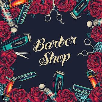 Barbershop vintage ramka banerowa z kwitnącymi różami diamentami fryzjerskimi nożyczkami do strzyżenia włosów i prostymi maszynkami do golenia