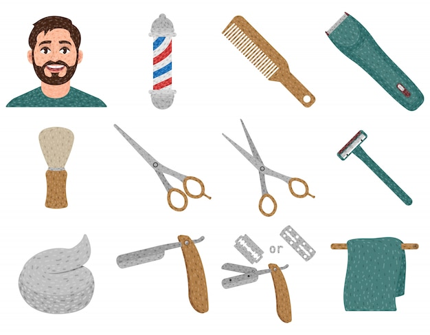 Barbershop zestaw elementów w stylu kreskówki, fryzury i golenia, shavette, słupka fryzjerskiego, maszynki do strzyżenia włosów itp.