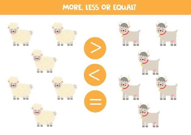 Bardziej, mniej, równy z kreskówkową owcą i kozą. gra matematyczna.