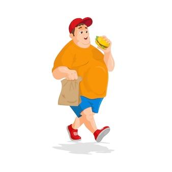 Bardzo gruby szczęśliwy człowiek z papierową torbą i hamburgerem w ręku.