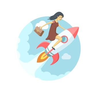 Bardzo młoda kobieta leci na rakiecie na niebie. ilustracja startowa wektor płaski.