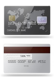 Bardzo szczegółowa błyszcząca karta kredytowa. przód i tył boków.