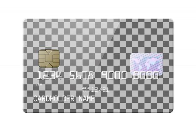 Bardzo szczegółowa realistyczna błyszcząca karta kredytowa