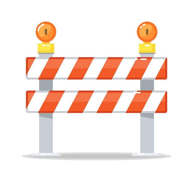 Bariera drogowa barykada i lampa ostrzegawcza na białym tle