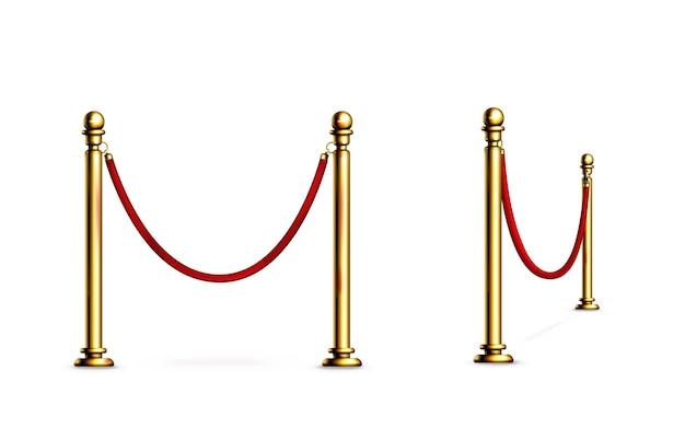 Bariera z ogrodzeniem z liny i złotych słupów na czerwony dywan lub imprezę vip