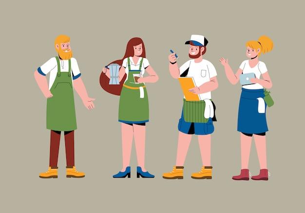Barista ilustracja charakter sklep z kawą