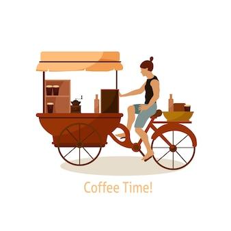 Barista jadący przyczepą z kawą