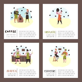 Barista mężczyzna i kobieta płaskie znaki w kawiarni