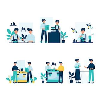 Barista produkuje i obsługuje klientów w kawiarni