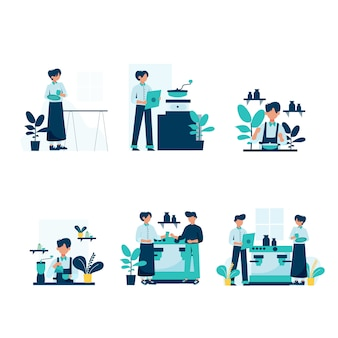 Barista robi i służy klientom w ilustracji do kawiarni