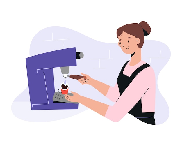 Barista robi kawę w kawiarni