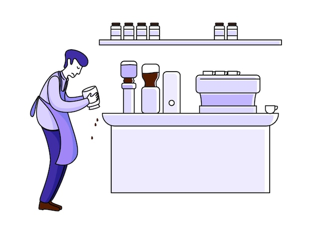 Barista robi kawę