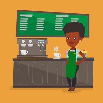 Barista stojący w pobliżu ekspresu do kawy.