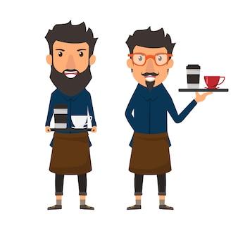 Barista trzyma kawę na tacy w kawiarni sklepie