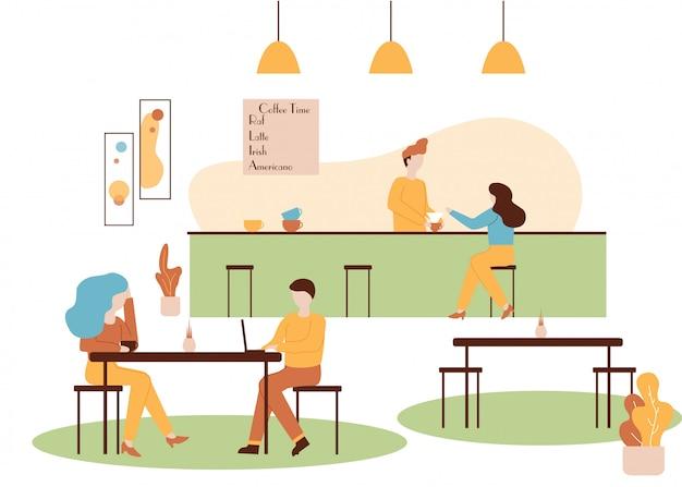 Barista wnętrze kawiarni bar make woman drink