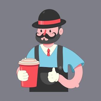Barista z filiżanką kawy postać z kreskówki odizolowywającą.