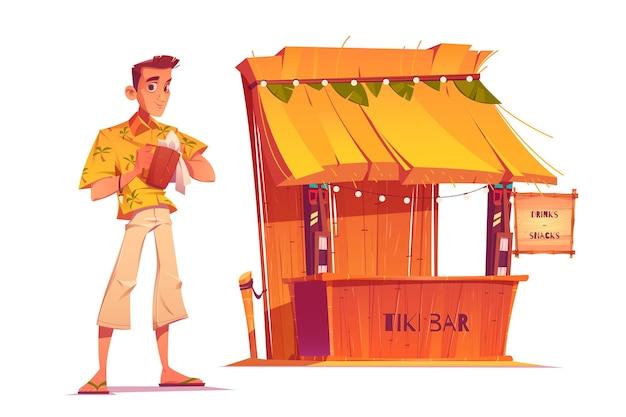 Barman i drewniany bar tiki z maski plemienne na białym tle