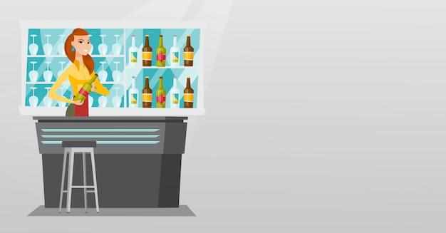 Barman stojący przy ladzie barowej.