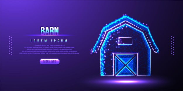 Barn building low poly wireframe mesh