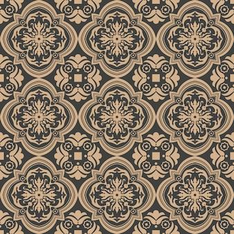 Barok bezszwowe retro wzór tła krzywa krzyża spirala liść kwiat winorośli ramki.