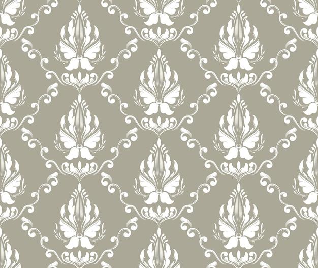Barok wektor wzór tła. klasyczny luksusowy staromodny ornament adamaszku, królewska wiktoriańska bezszwowa tekstura do tapet, tekstyliów, zawijania. wykwintny kwiatowy barokowy szablon.