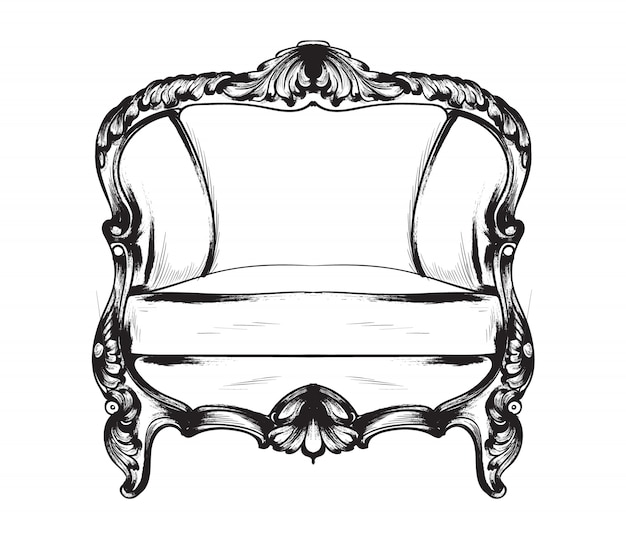 Barokowa grafika liniowa fotela